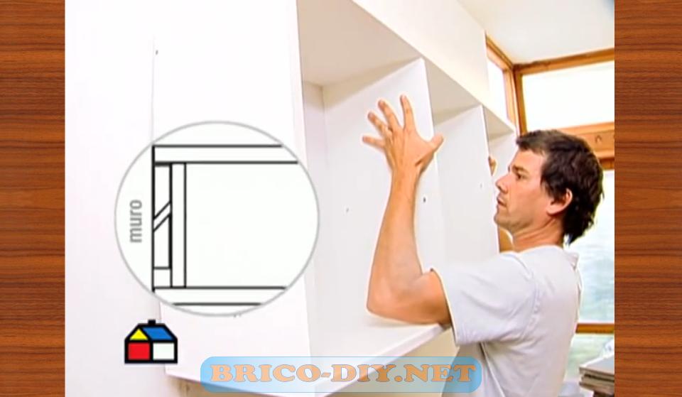 Como fijar muebles de melamina para cocina alacena alta - Como colgar una manta en la pared ...