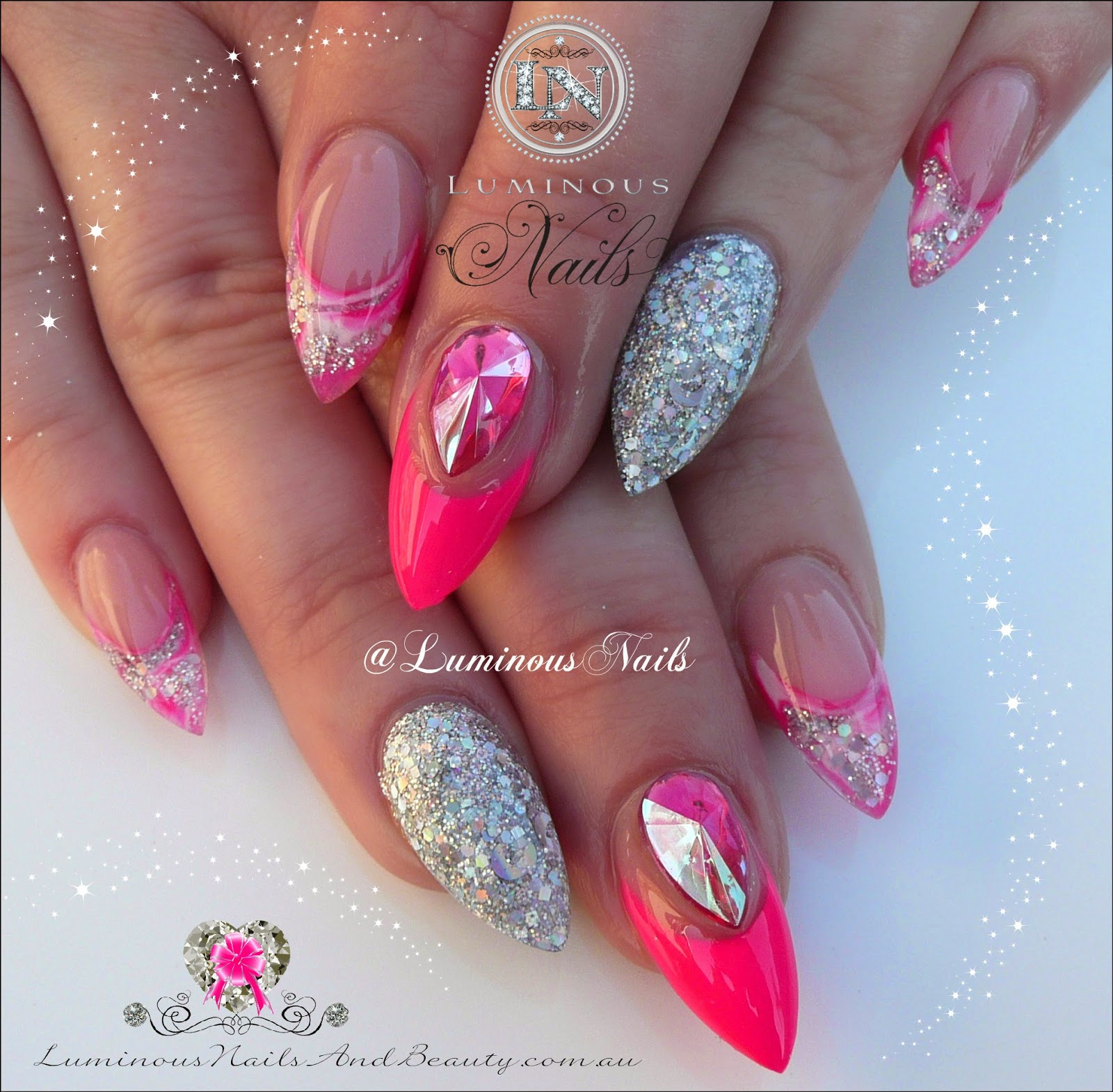 Neon Pink And Silver Nails