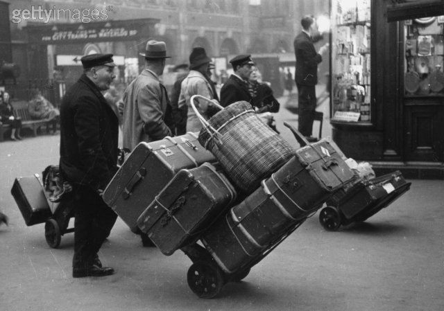 Vintage suitcases and luggage - black and white