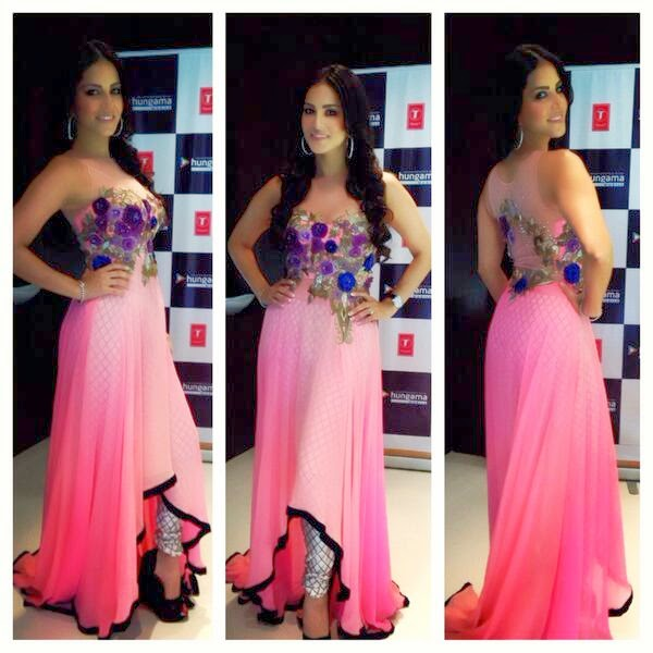 Sunny Leone in attactive pink c-cut costume at Ragini MMS 2 promotional tour