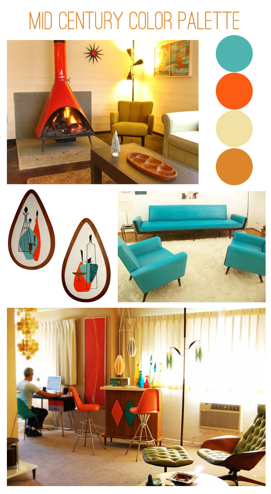 Oh so lovely vintage mid century color inspiration - Modern home color palette ...