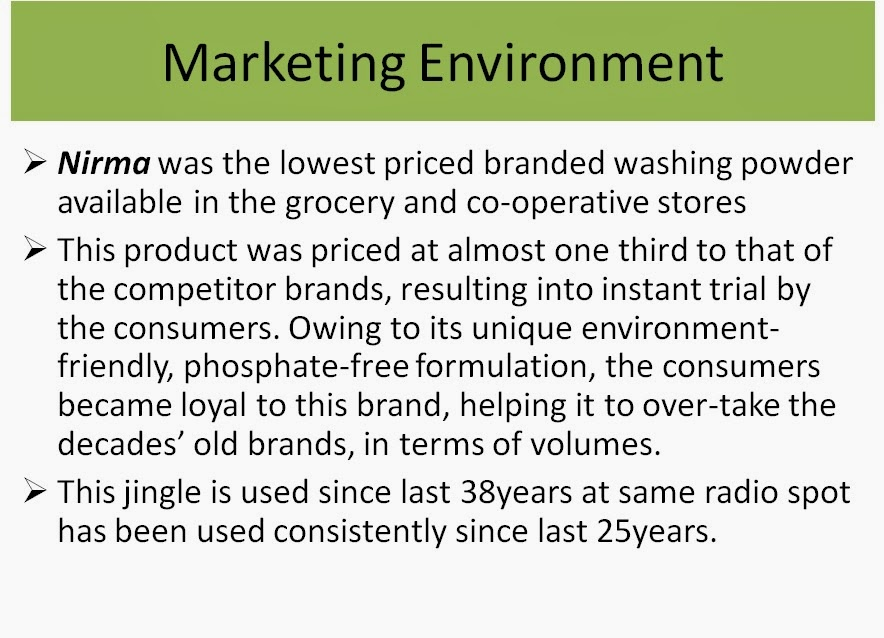 nirma case study Nirma, the company that karsanbhai patel set up in 1969, is a case study in  marketing schools, and patel is often hailed as the original price.
