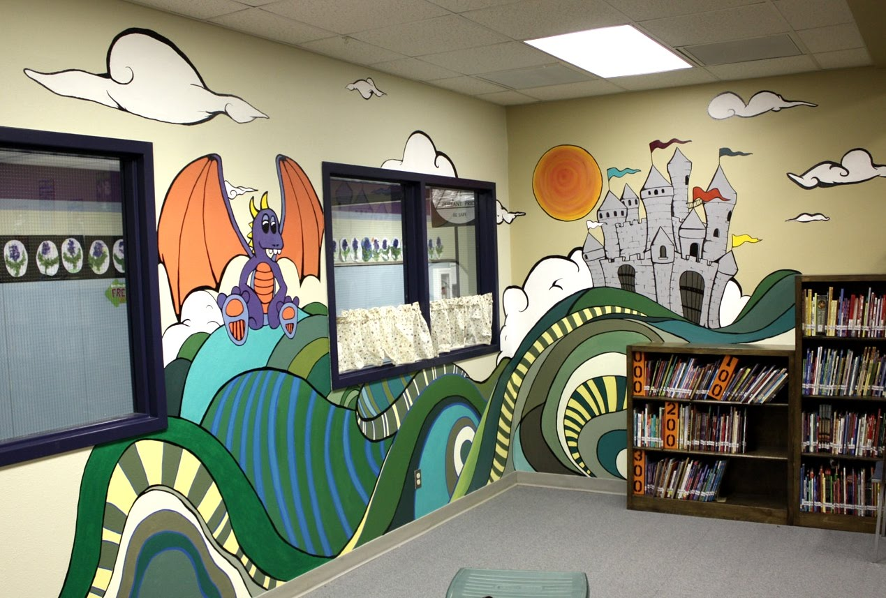 School mural ideas on pinterest school murals murals for Classroom wall mural ideas