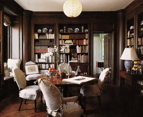 Library dining belclaire house for Dining room library