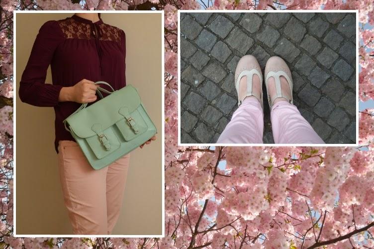 pastels, SIX, satchel cambridge company, F&F, H&M, sakura, Deichmann