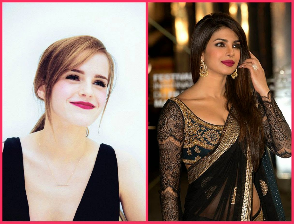Dark magenta lip colour, Ema watson in cherry lip colour, priyanka in dark pink lip colour