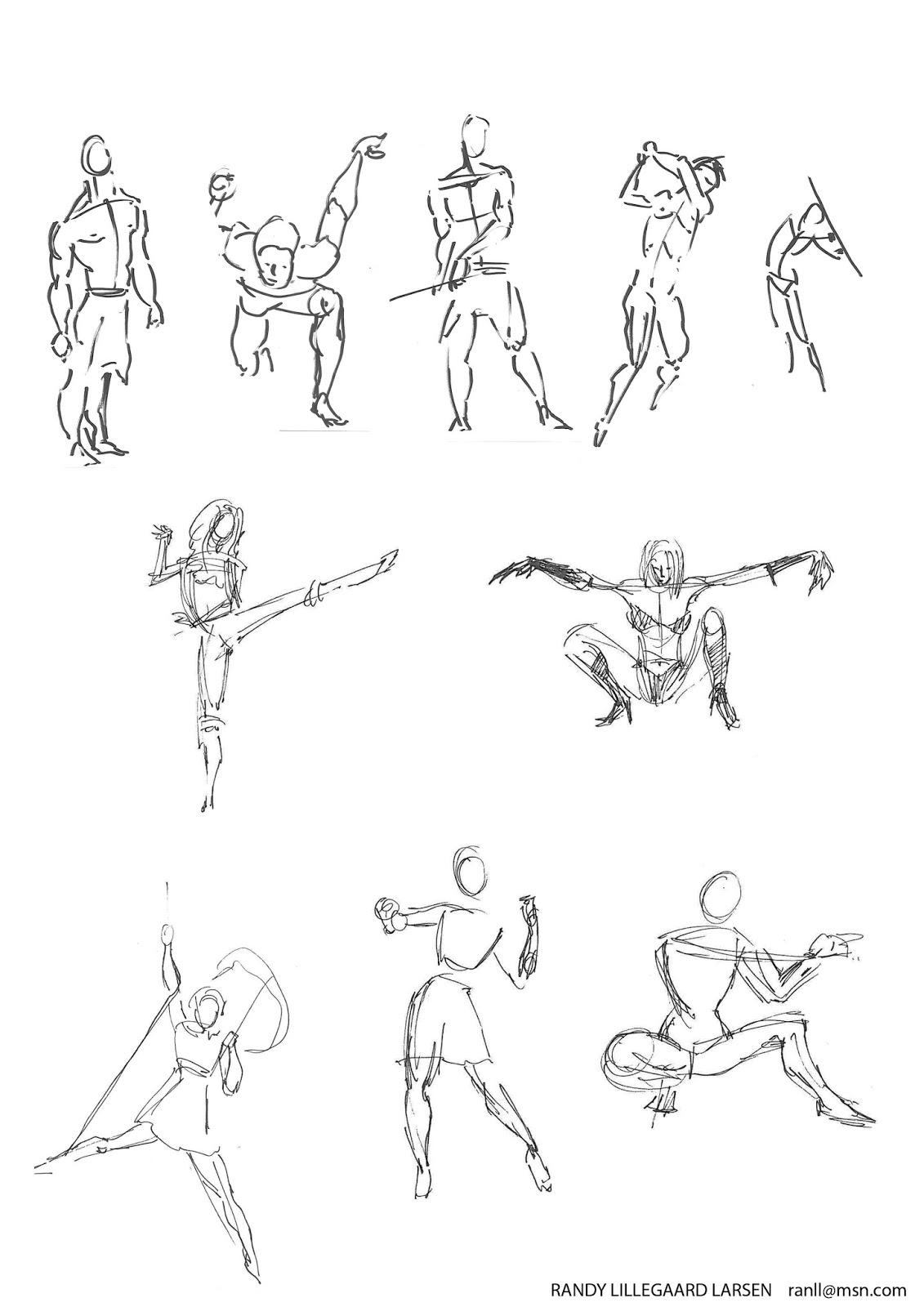 quick poses drawning randy lillegaard larsen