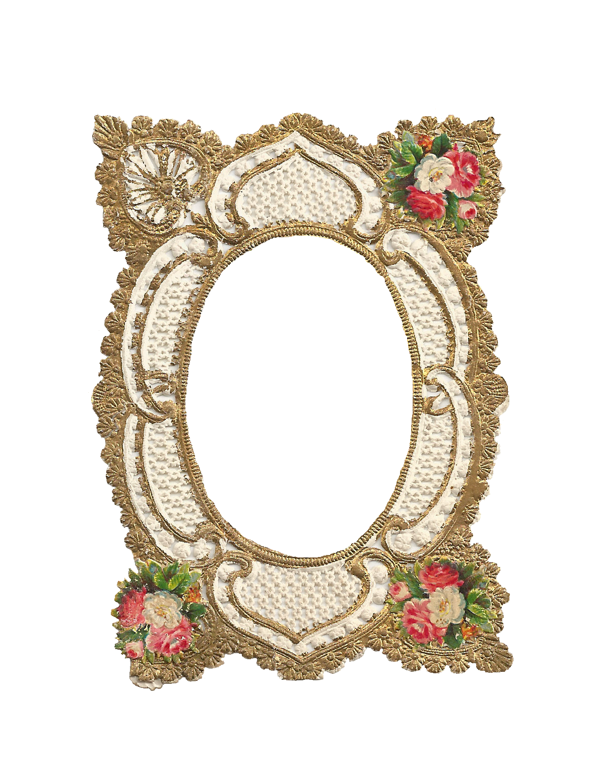 Free Frame Clip Art: Digital Frame Gold Filigree Design with Rose