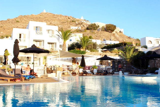 Liostasi hotel & spa, Ios Greece. Late afternoon by the pool. Best hotels in Ios.