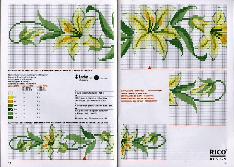 Схемы вышивок цветов лилии