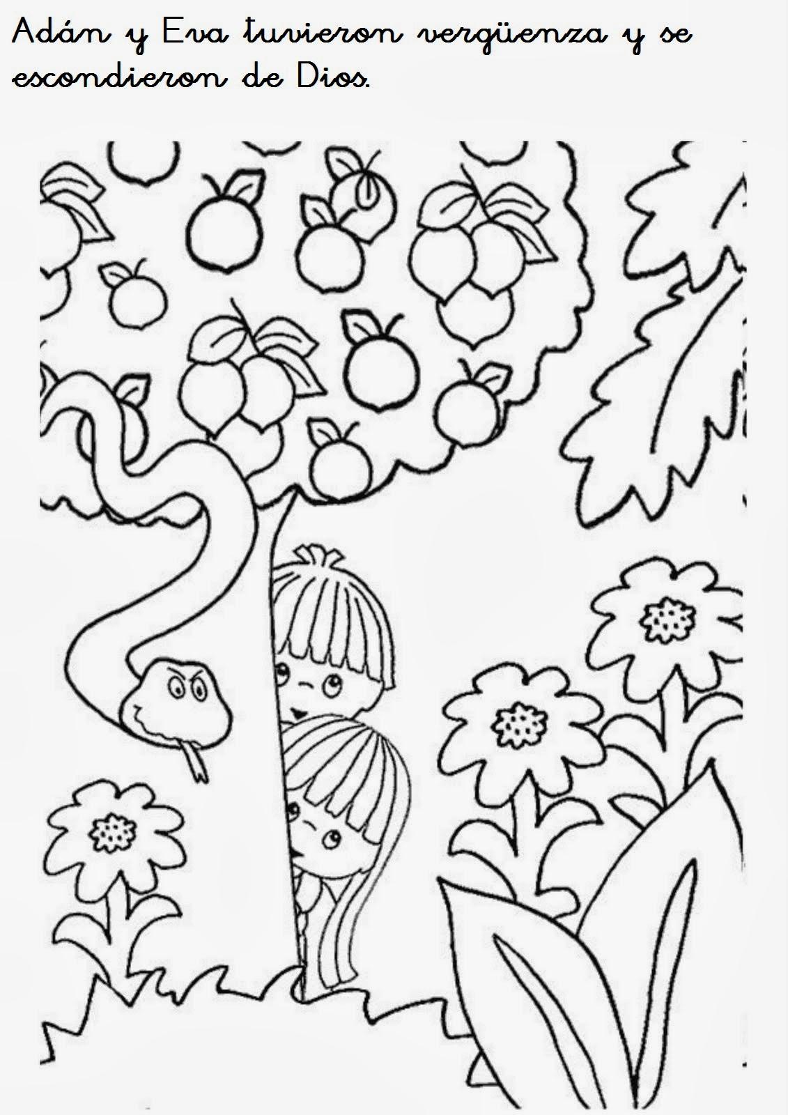 Me aburre la religi n actividades ad n y eva for Adan y eva en el jardin del eden para colorear