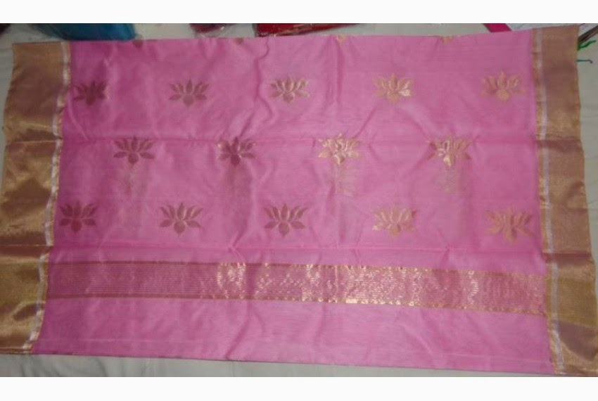 Chanderi Saree with Gold Lotus Motif