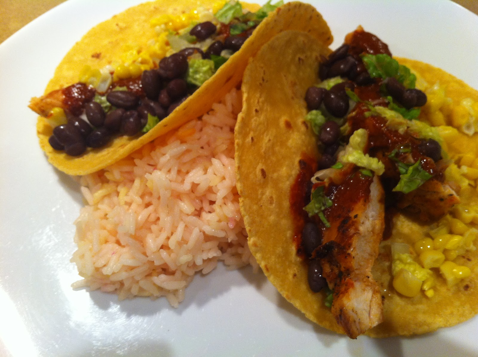 Monday: Chicken tacos with Mole sauce, black beans and corn...and ...