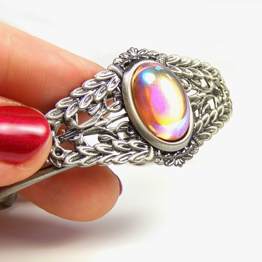 Silver Cuff Bracelet with Vintage Pink Glass Cabochon by Blucha Jewels