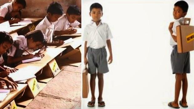 Anak-Anak India ini Menggunakan Tas Kardus Untuk Sekolah