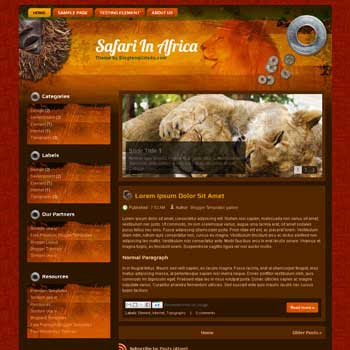 Safari In Africa Blogger Template. free travel blogger template