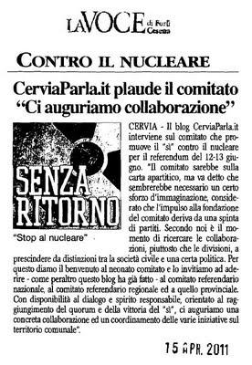 Articolo pubblicato dalla Voce - CerviaParla.it e Comitato Fermiamo il nucleare