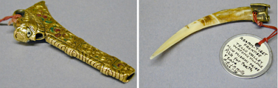 Funda para palillos de dientes y diente de ciervo usado como mondadientes. India. Lacasamundo.com