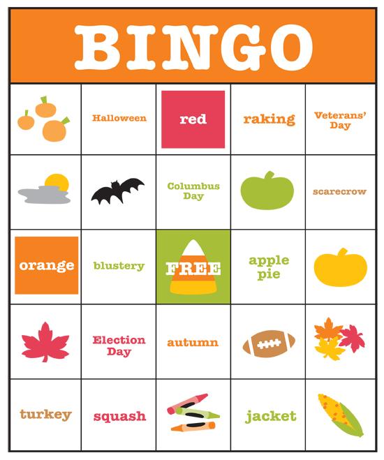 Crush image pertaining to fall bingo printable