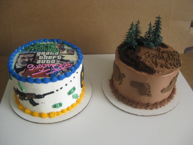 My Sweet Diversion Double Birthday Cakes Big Foot And Grand Theft