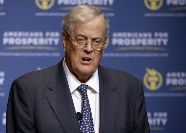 Americans for Prosperity Foundation Chairman David Koch speaks in Orlando, Florida, in August, 2013. (Credit: AP /Phelan M. Ebenhack) Click to Enlarge.