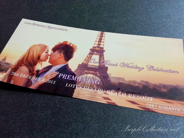 eifel tower, wedding invitation, paris, lotus desaru beach resort, johor, concert ticket, purple, romantic, love, December 2013 card