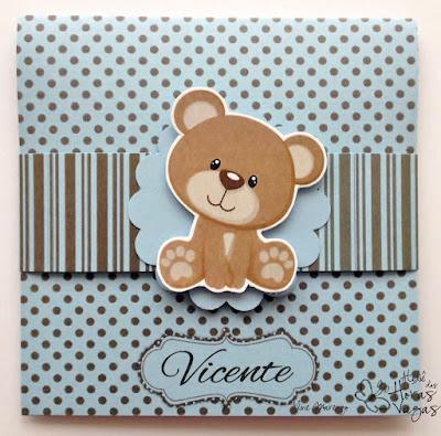 convite artesanal aniversário infantil ursinho urso poá marrom azul menino 1 aninho delicado bebê