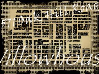 Grafik mit Straßenraster und Schrift