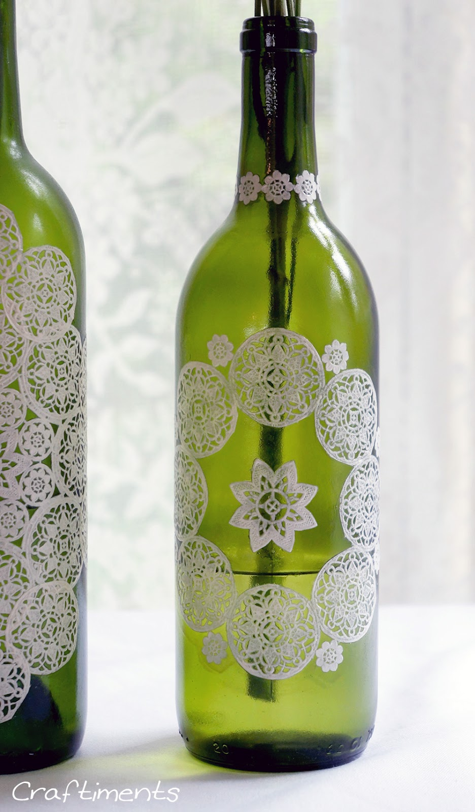 Craftiments:  Paper Doily Decoupaged Bottle Tutorial