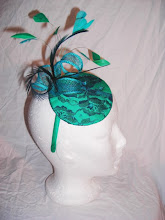 Turquoise and teal lace fascinator