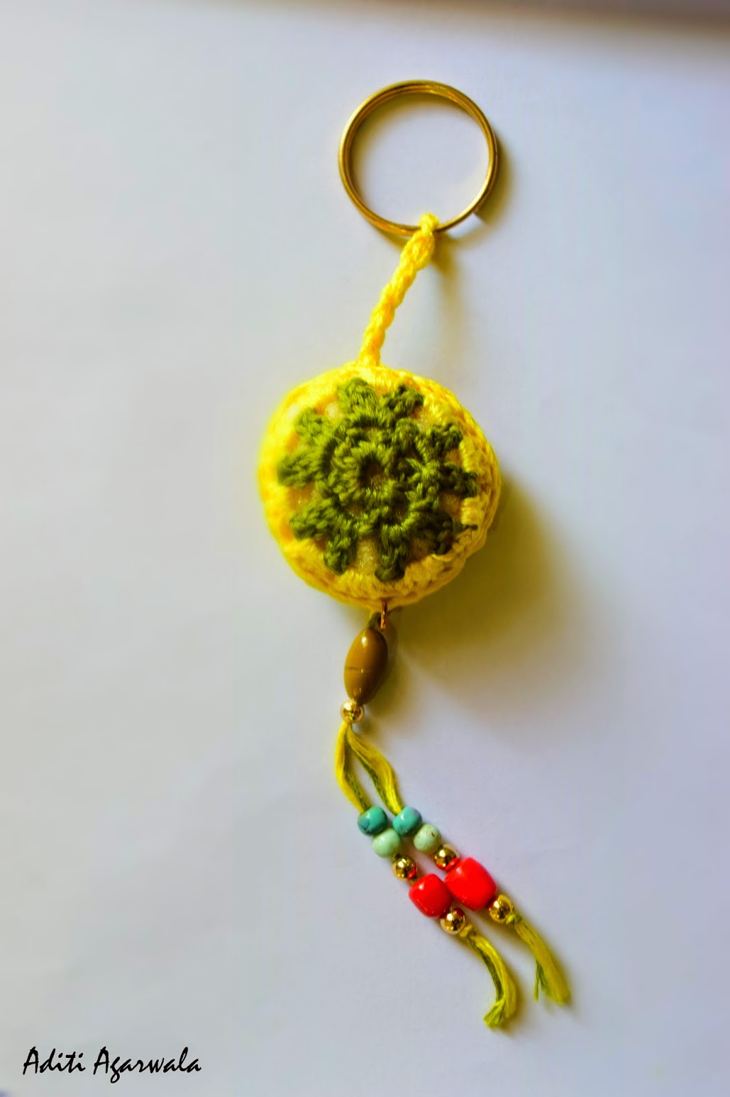 Yellow ball crochet keychain