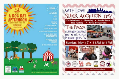 Fliers for pet adoption events in Philadelphia