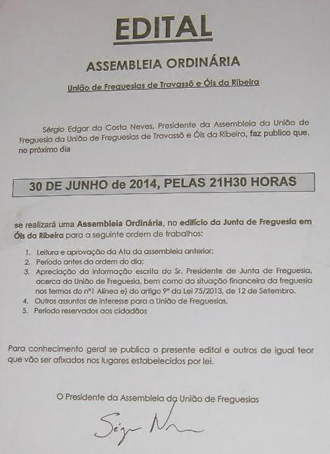 ASSEMBLEIA ORDINÁRIA DA FREGUESIA DE TRAVASSÓIS