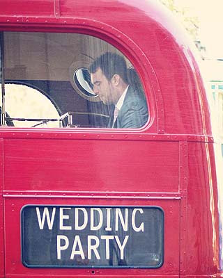 guest inside routemaster wedding bus