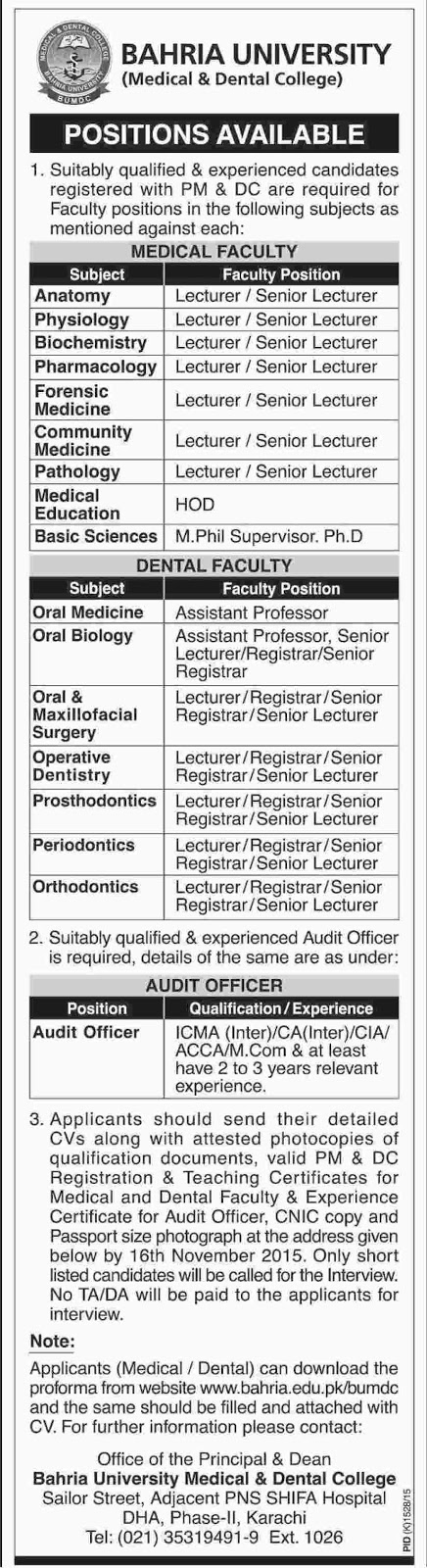 Medical & Dental Faculty Jobs in Bahria University Karachi