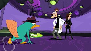 Agent P, Doutor Heinz Doofenshimirtz e Vanessa Doofenshimirtz, personagens do desenho animado Phineas e Ferb