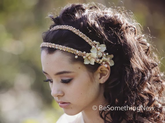 beaded flower wedding headband head piece statement garden fairy