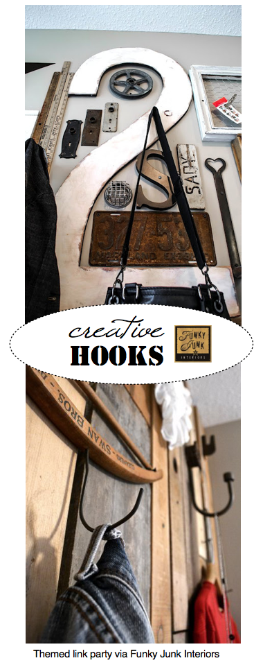 Creative Hooks - a themed link party via Funky Junk Interiors