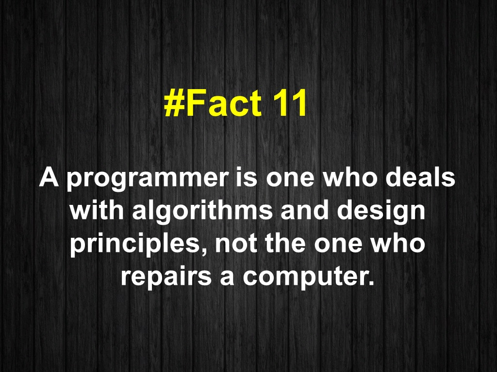 A programmer is one who deals with algorithms and design principles, not the one who repairs a computer.