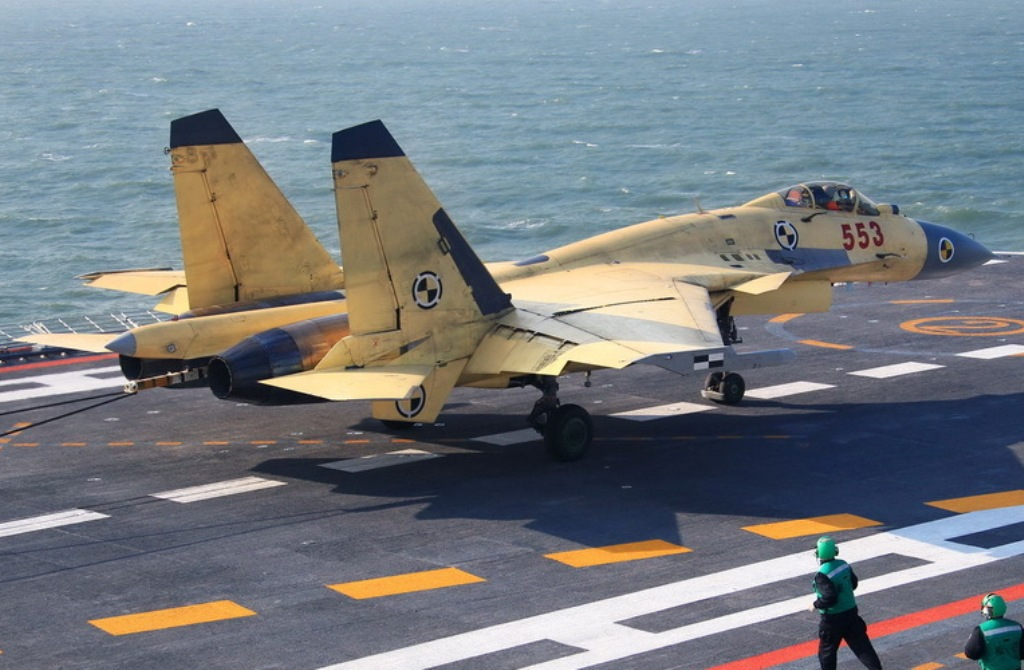 J-15 Fighter Jet At Flight Deck of Chinese CV16 Liaoning ...