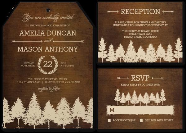Rustic Woodland Wedding Invitations Invites