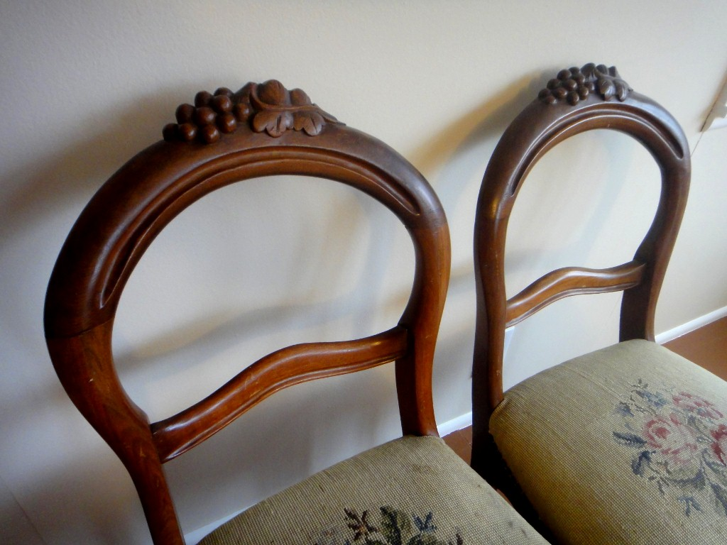 pair of Victorian balloon back chairs - Antique White: Pair Of Victorian Balloon Back Chairs