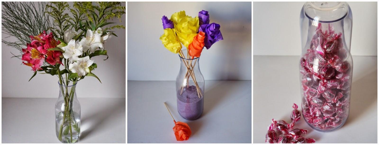 moringa plástica transparente servindo de vaso para flores e servindo também para baleiro