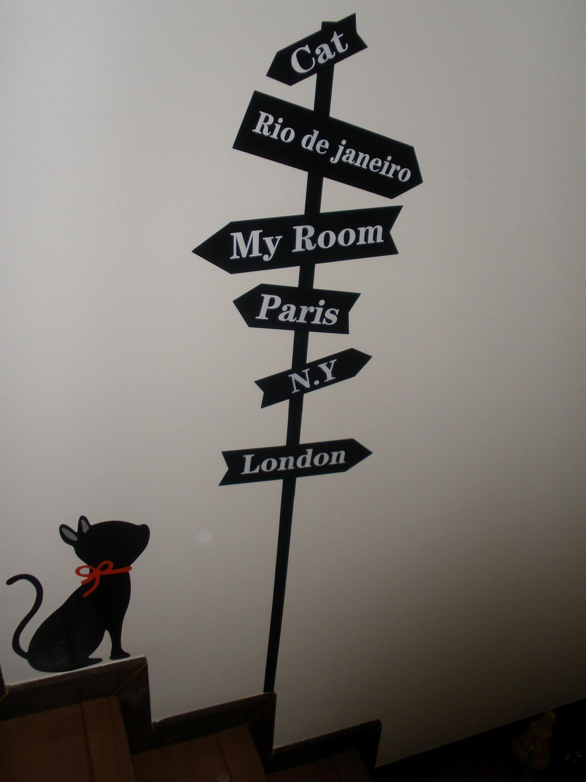 Adesivo Porta De Banheiro ~ Adesivo de gato na parede Coisas de gato