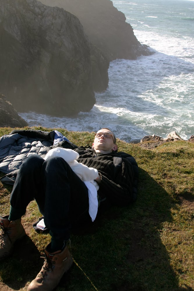 Hugh sleeping with baby Coco  at Kynance Cove by Alexis at somethingimade.co.uk