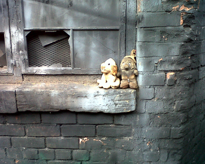 Image of two battered cuddly toys sitting on a dirty window sill beneath a broken window