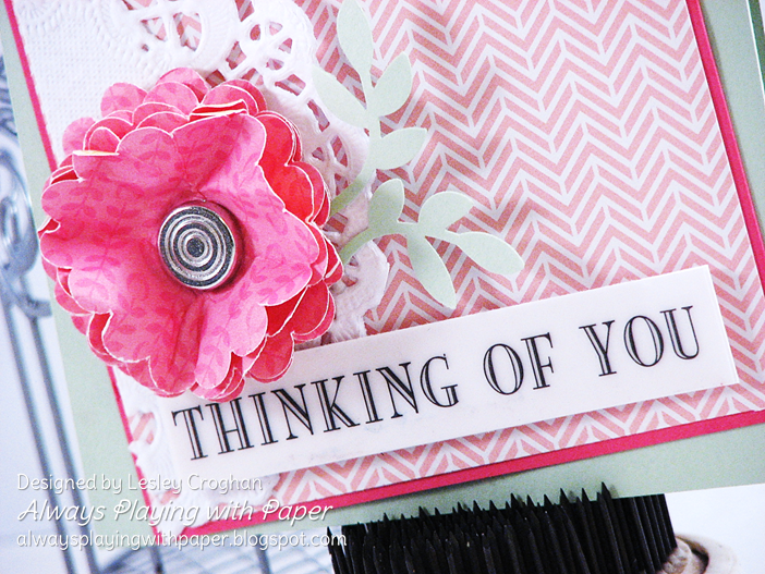 SRM Stickers Blog - 1 Sticker - 4 Cards by Lesley - #cards #set #Thinking of You #stickers #fancy #doily