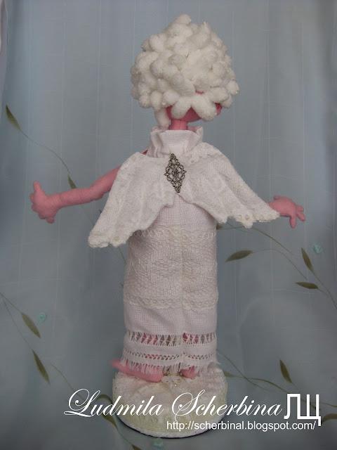 Текстильная кукла на проволочном каркасе Ангел