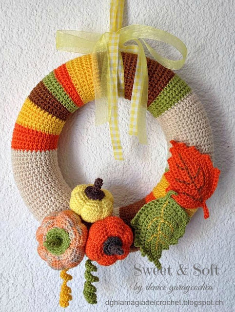 La Magia del Crochet: CORONA DE OTOÑO AL CROCHET