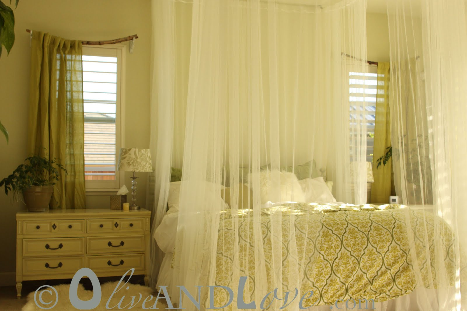 Bedroom Canopy Curtains olive and love: ceiling mounted bed canopy